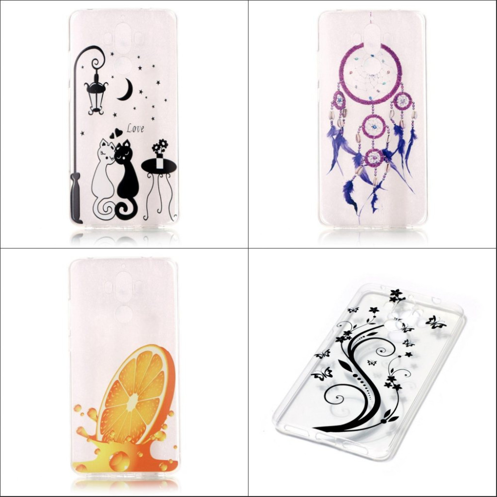 Popular cute cartoon abstract painting soft tpu transparent back case cover Huawei Mate 9 mate9 screen protector film  -  E-Credible Technology Co.,Ltd. store
