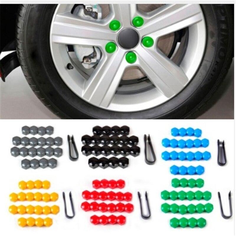 20 個 17 ミリメートルタイヤ車車タイヤホイールタイヤスクリューキャップ装飾タイヤホイールナットねじボルト車のスタイリング防塵プロテクター