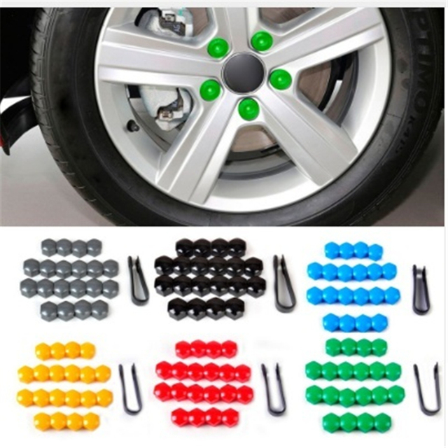 20pcs 17mm Tyre Cars Vehicles Tire Wheel Tyre Screw Cap Decorative Tyre Wheel Nut Screw Bolt Car Styling Dust Proof Protector