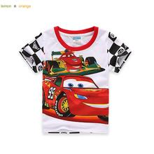 lemonnorange 2016 New Hot Baby Kids Boys Cartoon Cars T Shirt Kids Short Sleeve T-shirt Children Super Cars Men TShirt