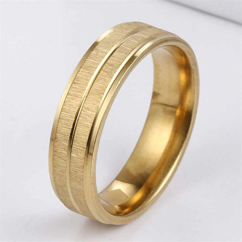 2018 New Stainless Steel Rose Gold Rings For Men Women Jewelry Ring Couple Engagement Rings Gold Color Finger Ring Women Jewelry