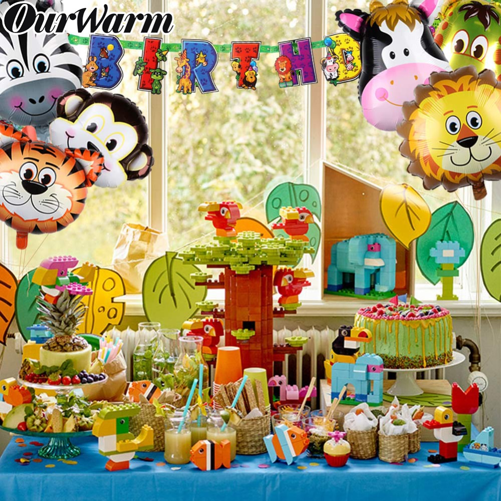 Us 368 20 Offourwarm 6pcs Big Animals Ballons Jungle Animal Foil Balloons Safari Jungle Theme Birthday Decoration Baby Shower Party Supplies In
