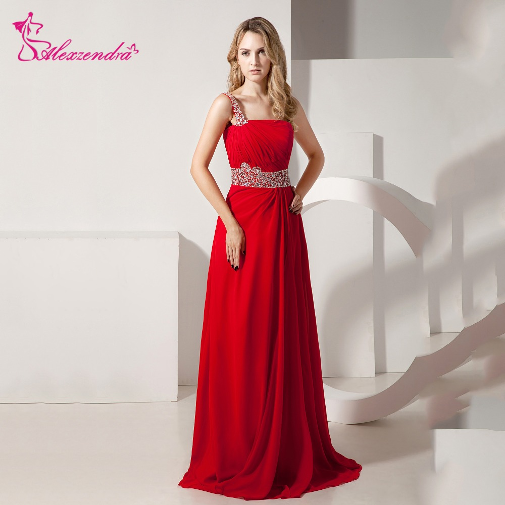 Alexzendra Red Chiffon One Shoulder   Prom     Dresses   Beaded Belt Long Party   Dress   Evening   Dresses   Plus Size