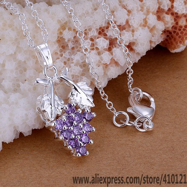 Necklaces & Pendants Pendant Necklaces Capable P206_2 Hot Sale Free Shipping Silver Plated Fine Jewelry,wholesale 925 Jewelry Silver Plated Fashion Pendant Zircon Grapes /fmo