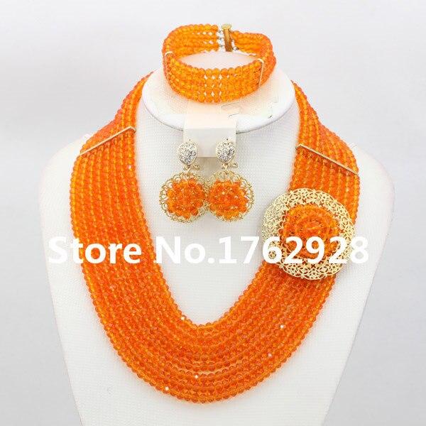 Orange super glamorous beaded jewelry women nigerian wedding african beads jewelry set Free Shipping