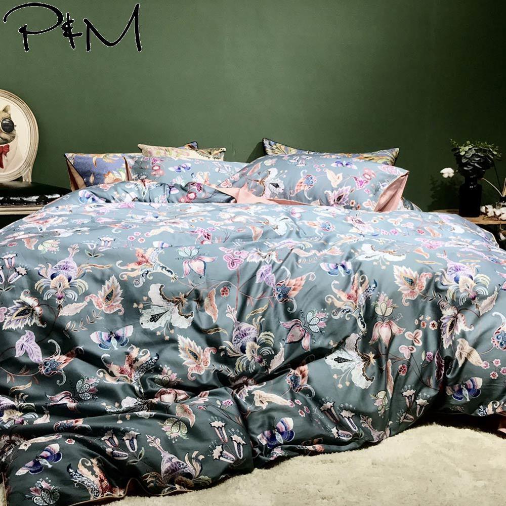 Duvet-Cover-Set Butterfly Bedding-Set Flowers Flat-Sheet Bedlinens Queen Dark-Grey Egyptian Cotton