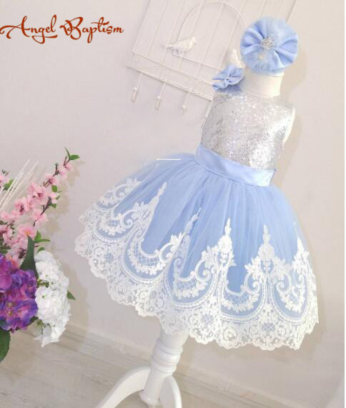 Sliver Bling Sequin ball gown sky blue White Lace Backless flower girl dresses with Bow knee-length baby Birthday Party Dress