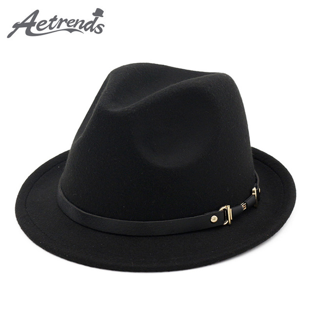b3616e5ba64  AETRENDS  2017 England Style Fedora Jazz Hat Men Vintage Wool Felt Winter  Hat Panama Cap Z-5953