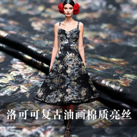 Beautiful vintage oil painting silk high end fashion fabrics spring and autumn dress professional clothing custom cloth