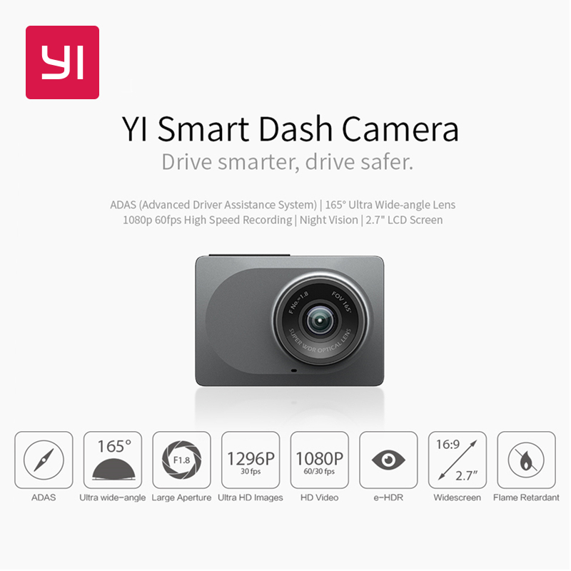 "YI Smart Dash Câmera Versão Internacional WiFi Night Vision HD 1080 P 2.7 ""165 graus 60fps ADAS Seguro Lembrete Dashboard Camera"