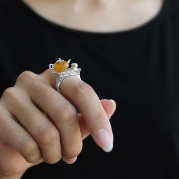 Teapot Amber Handmade Ring3