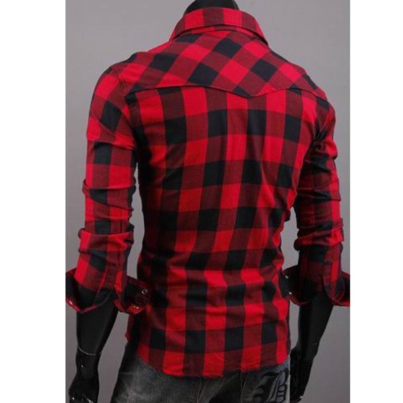 1858ef1f9d Hot 2019 moda camisa Xadrez lazer Vermelho cinza de manga comprida homem  camisa masculina social Evening casual vestido dos homens de negócios camisa  em ...