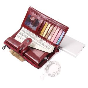 Image 3 - İletişim yeni 2020 hakiki deri kadın cüzdan uzun tasarım debriyaj dana cüzdan yüksek kalite moda kadın çanta telefonu çanta
