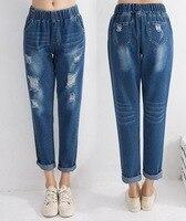 Мода 2019 мешковатые с эластичной талией женские джинсы длиной до щиколотки брюки карго хлопковые свободные шаровары женские дырки женские д