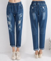 Fashion 2020 baggy Elastic Waist Women Jeans Ankle Length Pants Cargo Pants Cotton Loose harem female Hole jeans Female Trousers