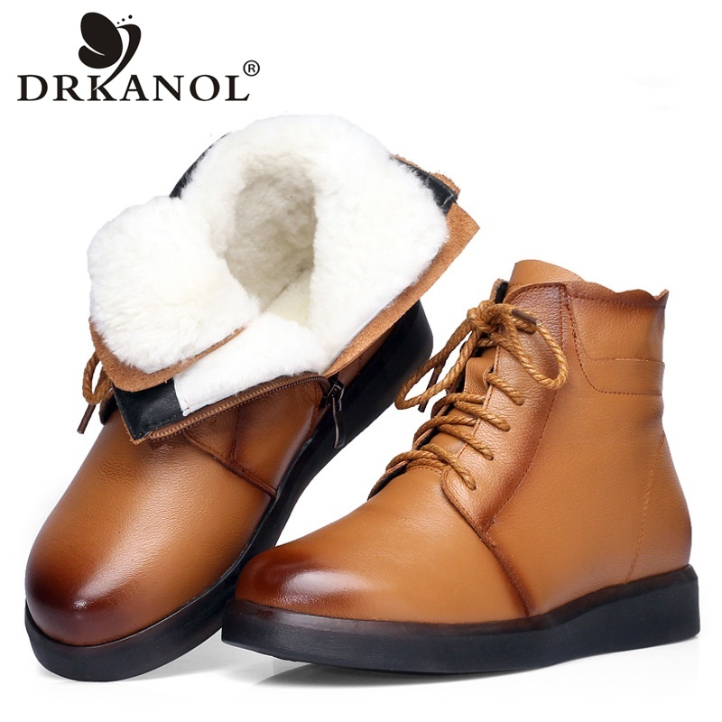 DRKANOL Brand Winter Boots Women Snow Boots Natural Thick Wool Warm Ankle Boots For Women 100% Genuine Cow Leather Flats Shoes