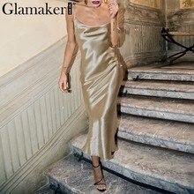 8f4ba8524 Glamaker oro Satén de encaje sexy vestido de las mujeres vestido de moda de seda  vestido
