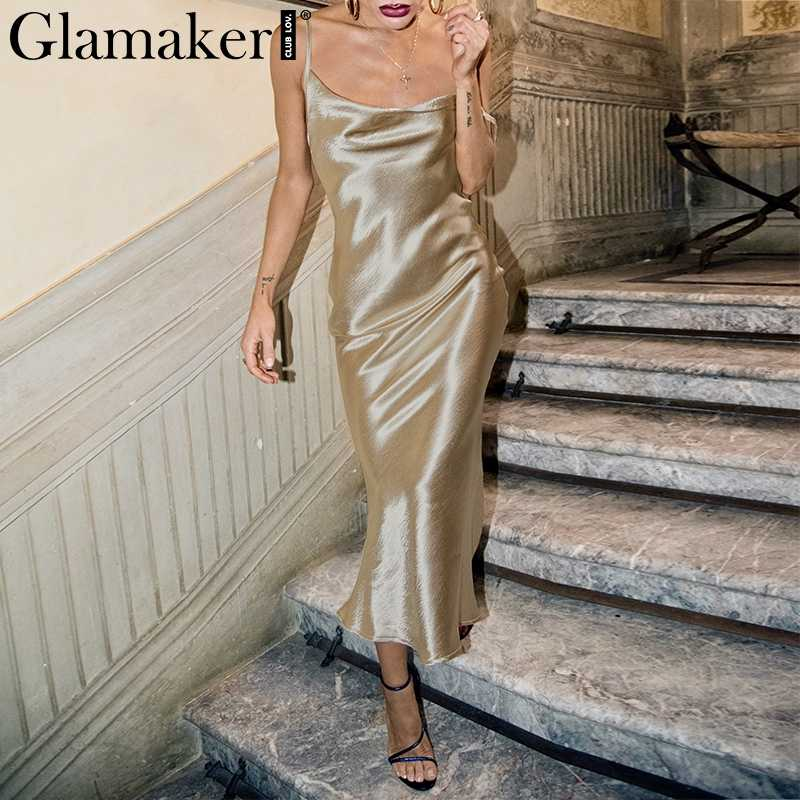Glamaker Backless Dress Detail Feedback Questions about Glamaker Glod satin lace up sexy dress  Women backless fashion silk long party dress Elegant club evening soft  summer dress ...