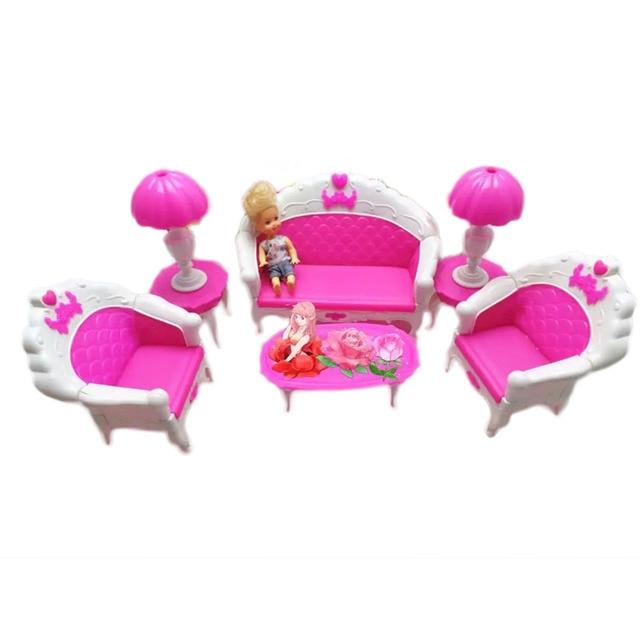 Wonderful 6Pcs DIY Girl Doll Houses Set Mini Pink Princess Dollhouse Sofa Miniature Dollhouse  Furniture Kit House