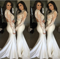 Elegant White Vintage Mermaid Bridesmaid Dresses 2017 Two Pieces Prom Dresses Sheer Long Sleeve High Neck