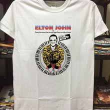 Vintage Elton John 1974 concierto cartel tour nueva camiseta de moda para hombres de manga corta Camiseta de algodón camisetas