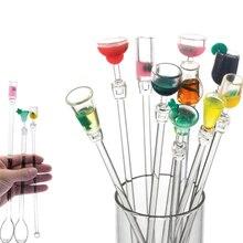 10 шт. 23 см милый Миксер Для коктейльных напитков, палочки для перемешивания с красочными миниатюрными аксессуарами