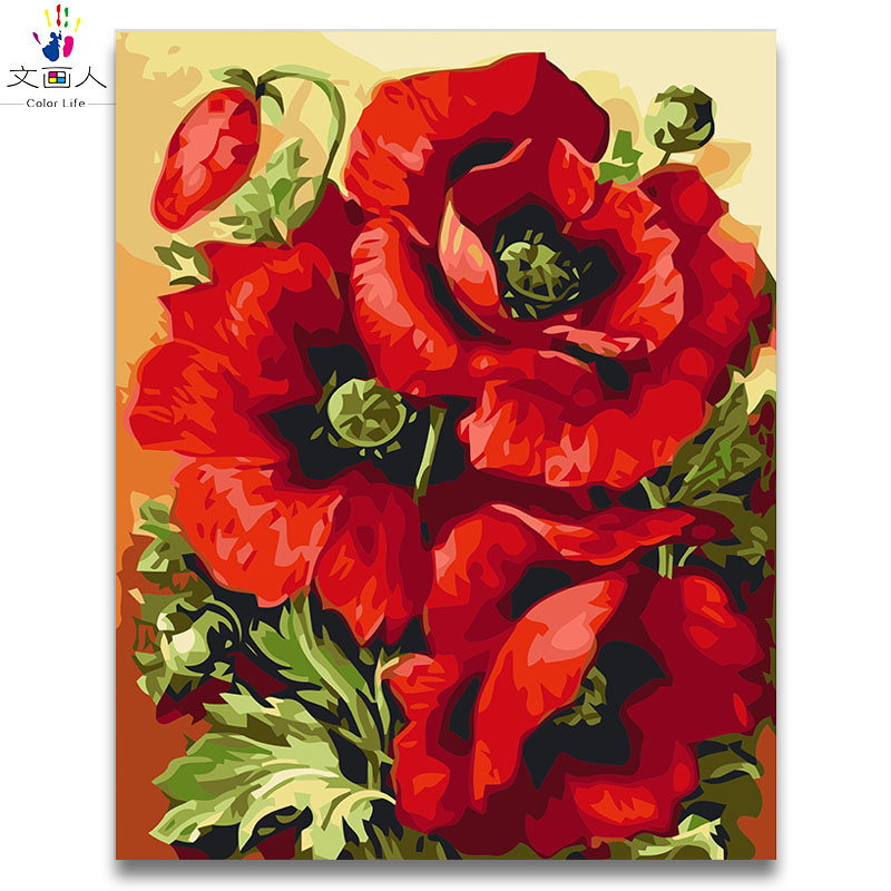 Red Pink Beautiful Poppies Oil Painting Package Diy Pictures Coloring Draw By Numbers With Kits For Adult Kids Paint Diy Frame
