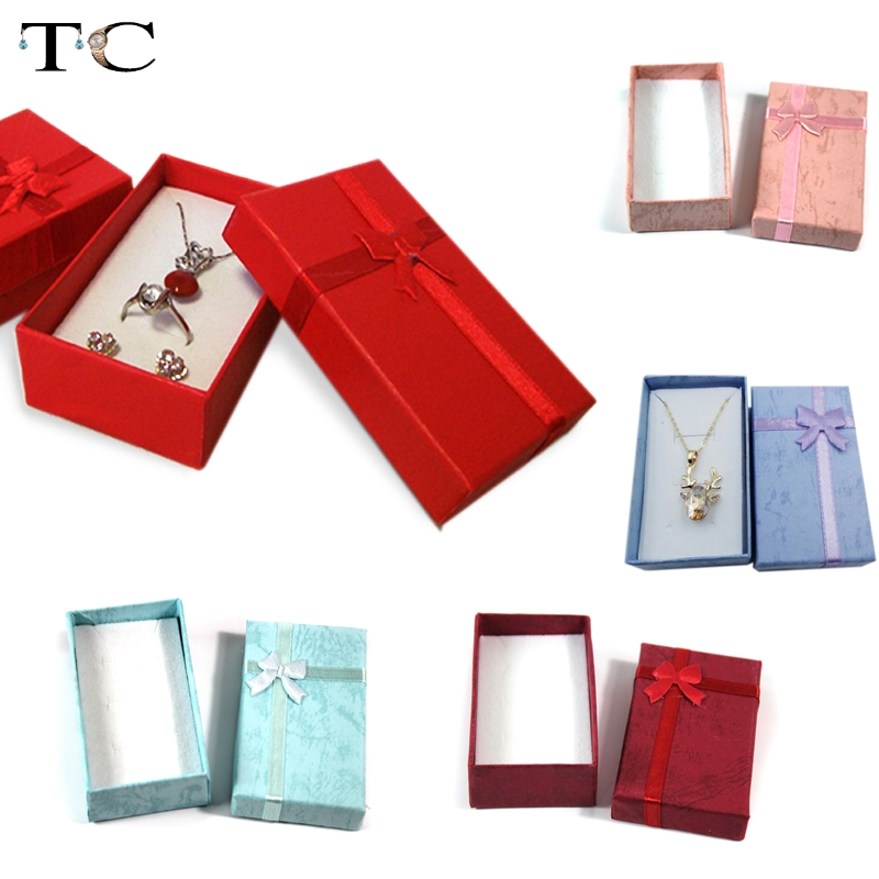 Wholesale Assorted Colors Jewelry Sets Display Box Necklace Earrings Ring Box 5*8*2.5cm Packaging Gift Box mixed 24pcs/lot