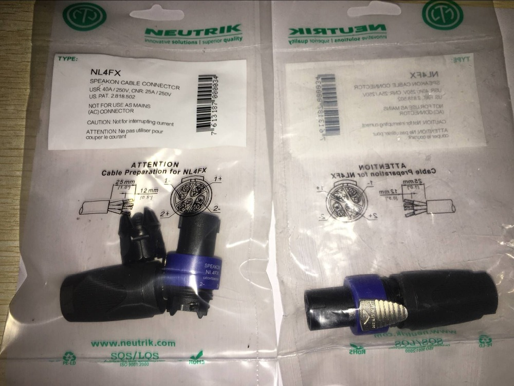 2Pcs/lot  NEUTRIK New Type NL4FX Speakon 4 Pole Plug Male Audio Speaker Connectors