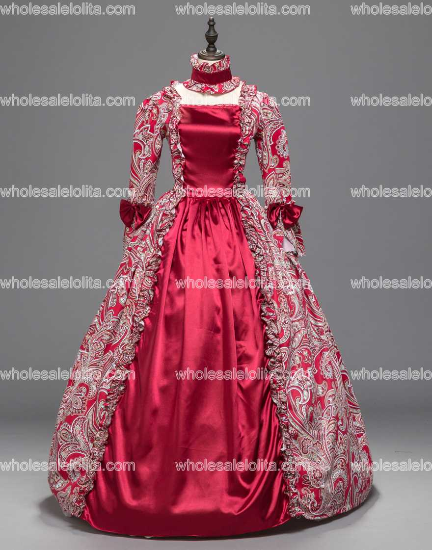 Red Georgian Renaissance Princess Dress Gothic Masquerade Ball Gown ...