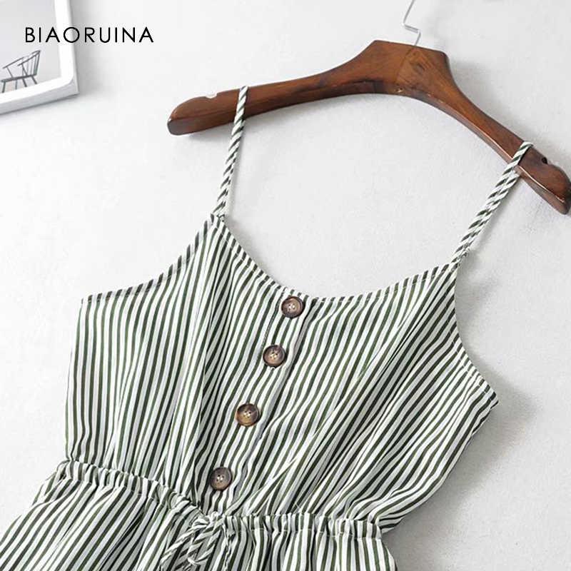 BIAORUINA женский полосатый без рукавов с v-образным вырезом повседневный комбинезон с поясом однобортный женский модный пляжный комбинезон для отдыха