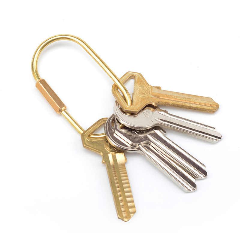 LẠI 2018 đơn giản brass keychain vàng Handmade key mặt dây chuyền kim loại xe key ring EDC tiện ích móc khóa cho nam giới món quà bạn trai d0535