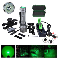 10000 Lumens LED Flashlight Tactical Green Hunting Torch+Remote Pressure Switch+18650 Battery+Rifle Scope Mount+Charger+Case