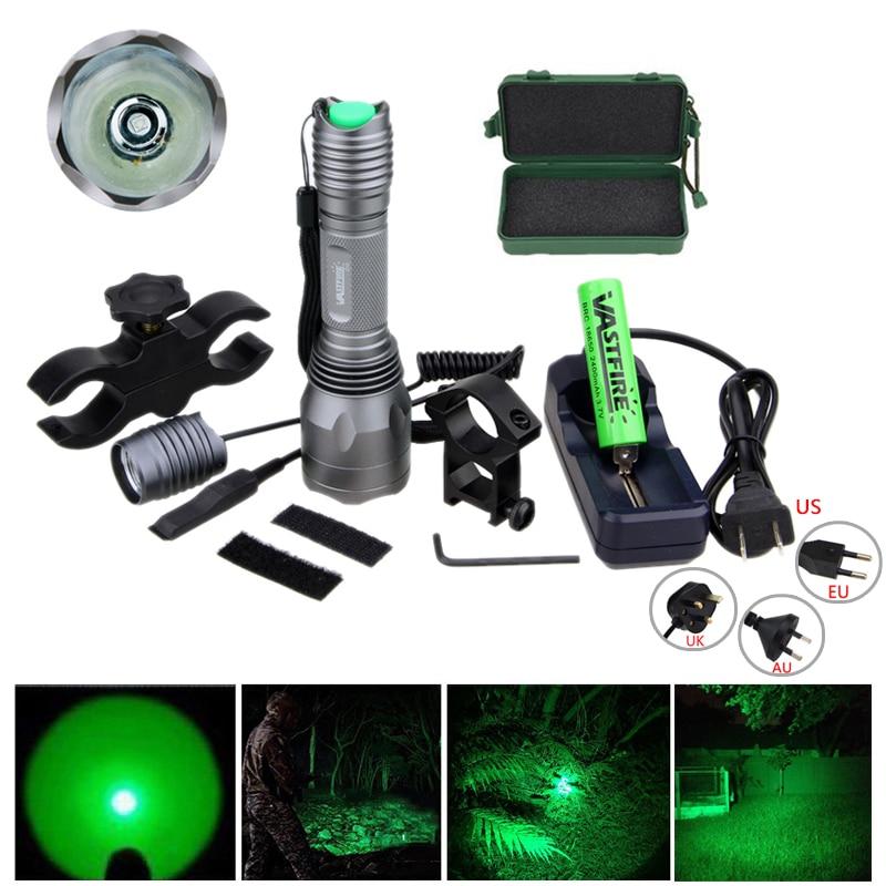 Torche de chasse verte tactique 10000 Lumens lampe de poche LED + pressostat à distance + batterie 18650 + support de portée de fusil + chargeur + étui