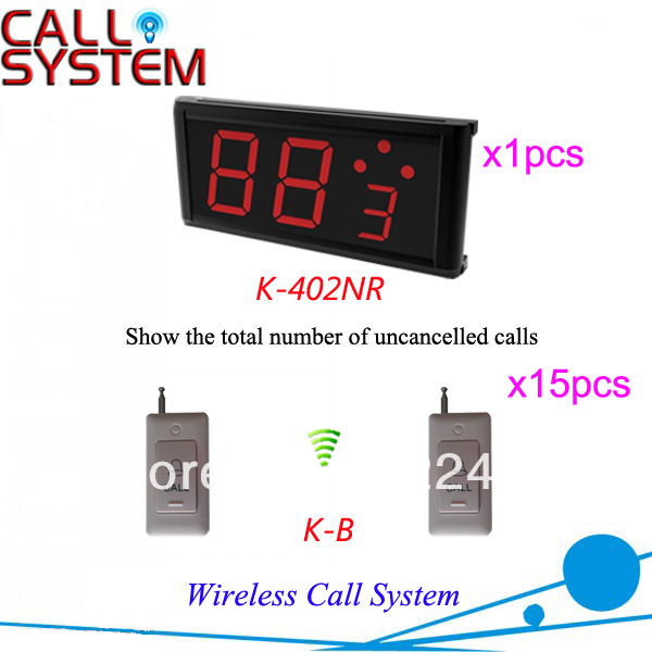 Free Shipping K-402NR+B 1-key white call button and number display receiver Wireless Hospital Call Bell System