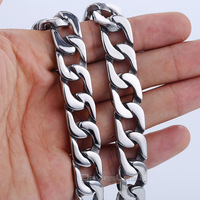 13mm Heavy Mens Chain Smooth Cut Curb Gold Color Silver Tone 316L Stainless Steel Necklace Customized Jewelry LHN89
