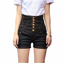 Whosale High quality plus size occident fashion vintage black high waisted cowboy denim shorts slim package hip women Jeans D199