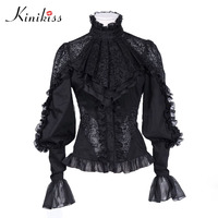 Women Black Blouse Lace Long Sleeve Hollow Out Patchwork Office Lady Autumn Vintage Gothic Blouses Elegant