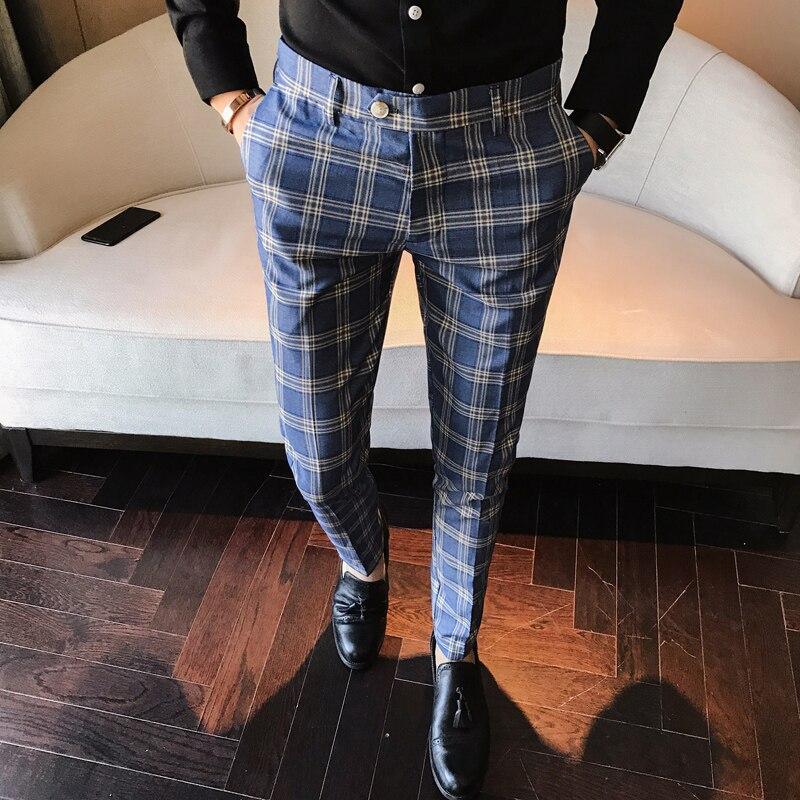 Blue Plaid Pants Mens Calca Social Trousers Mens British Pants Mens Skinny Formal Trousers Business Pants Pantalon Azul Hombre