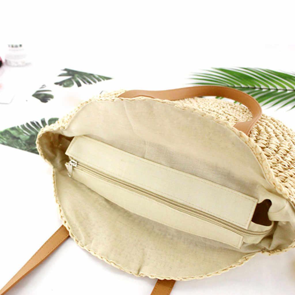 Saco tecido Novo Retro Mori Rodada bolsa de Palha Bolsa de Mulher Sacos De Verão Praia Sacos de Lazer Ombro pacote bandoulière à Sac femme