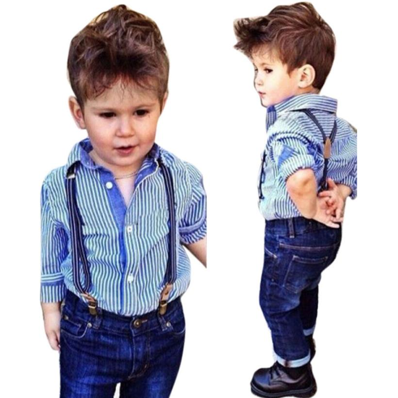 2018 Baby Boys Striped Collared Shirt Tops Bib+Straps Jeans Overalls Outfit 1Set Comfortable And Breathable 5.30