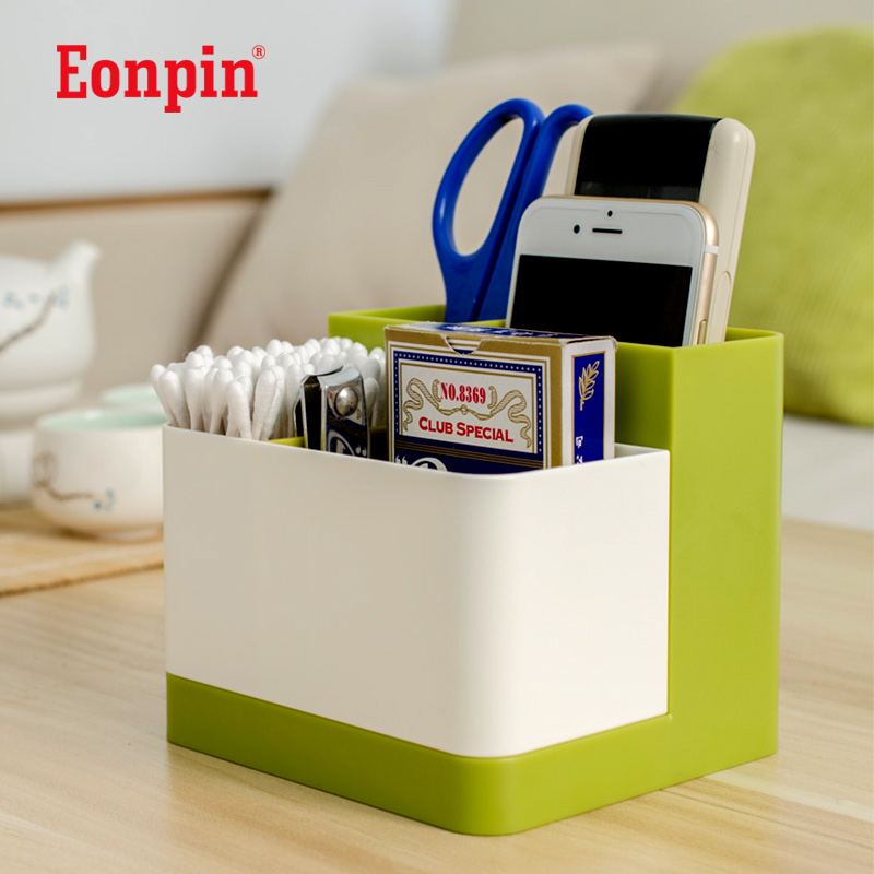 Eonpin 4 Layers Plastic Pen Pencils Holder Remote Control Case Box Business Card Stand Desk Organizer Set Office Table Accessory