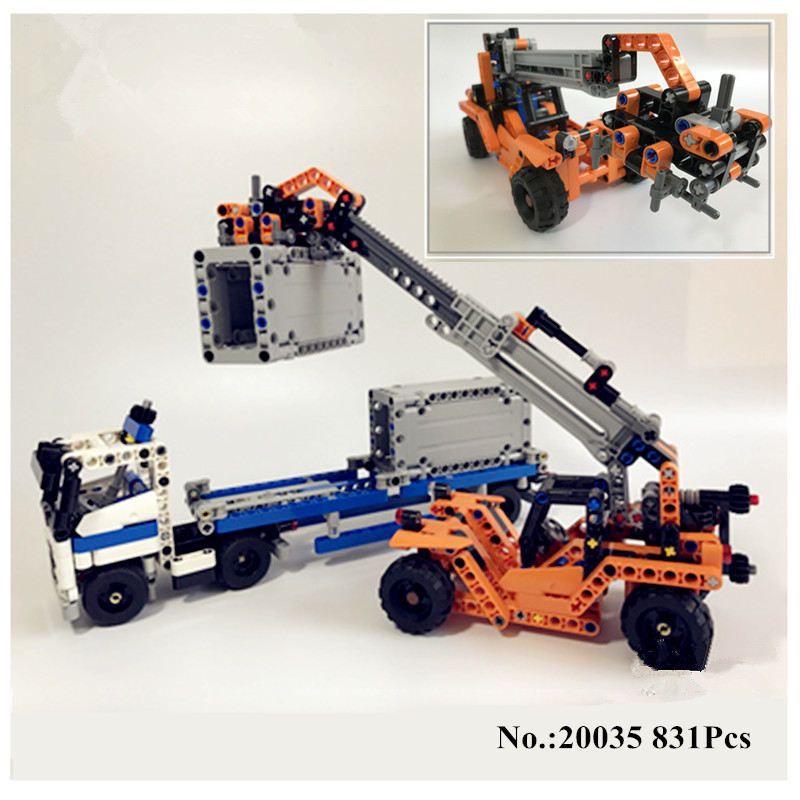 H&HXY 20035 631Pcs New Technic Series The Container Trucks and Loaders Set Building Blocks Bricks Educational lepin Toys 42062 construction equipment backhoe skid steer loaders wheel loaders road roller service manuals for hyundai