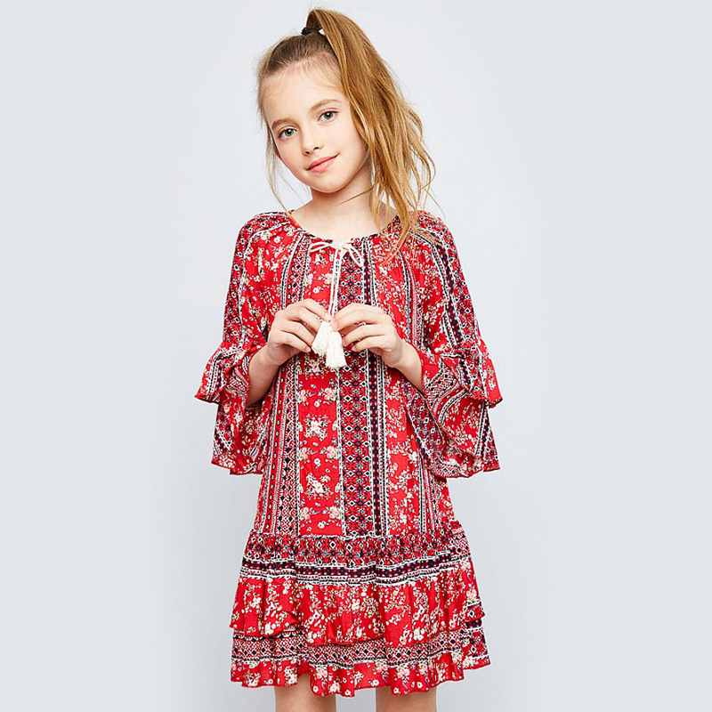Spring Girls BOHO Dresses Sweet Kids Casual Dresses Flare Sleeve Ruffles Red Cloth Floral Print Children Clothing Free Shipping
