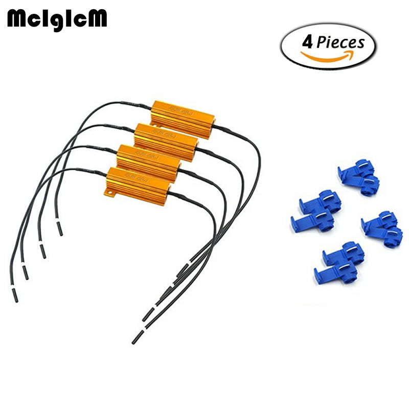 MCIGICM 50W 6ohm 8ohm 10ohm 4 Pack Load Resistors,Fix LED Bulb Fast Hyper Flash Turn Signal Blink Error Code