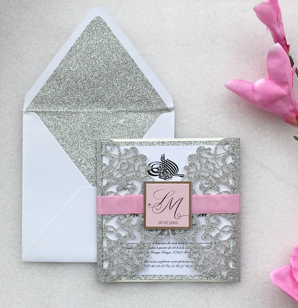 Us 49 6 20 Off Customized Glitter Silver Laser Cut Wedding Invitations With Belly Band Birthday Invitation Cards 100sets Express Shipping In Cards