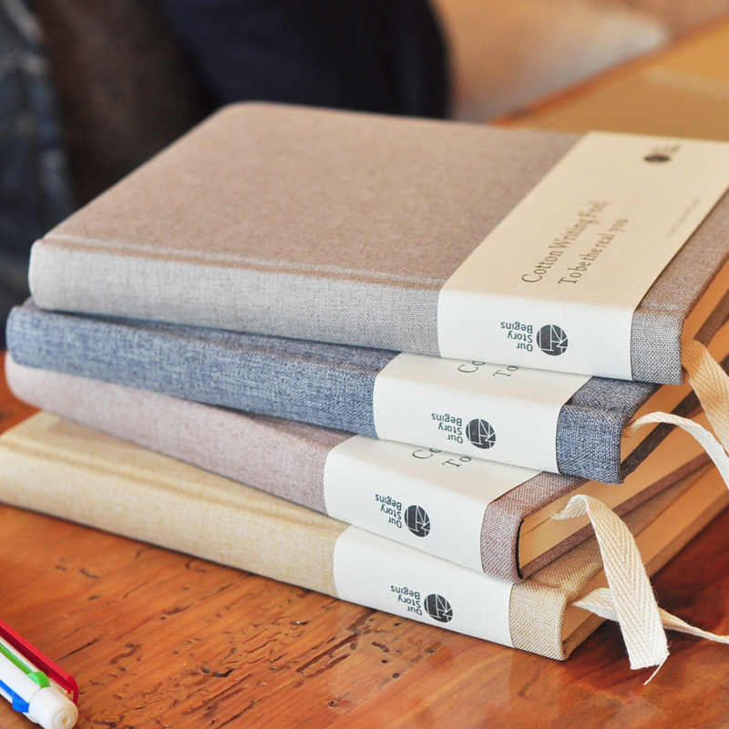 OUR-STORY-BEGINS Cotone Volte Serie A5 Bianco Pagina Interna Originale Notebook Hardcover Notepad 1 PZ