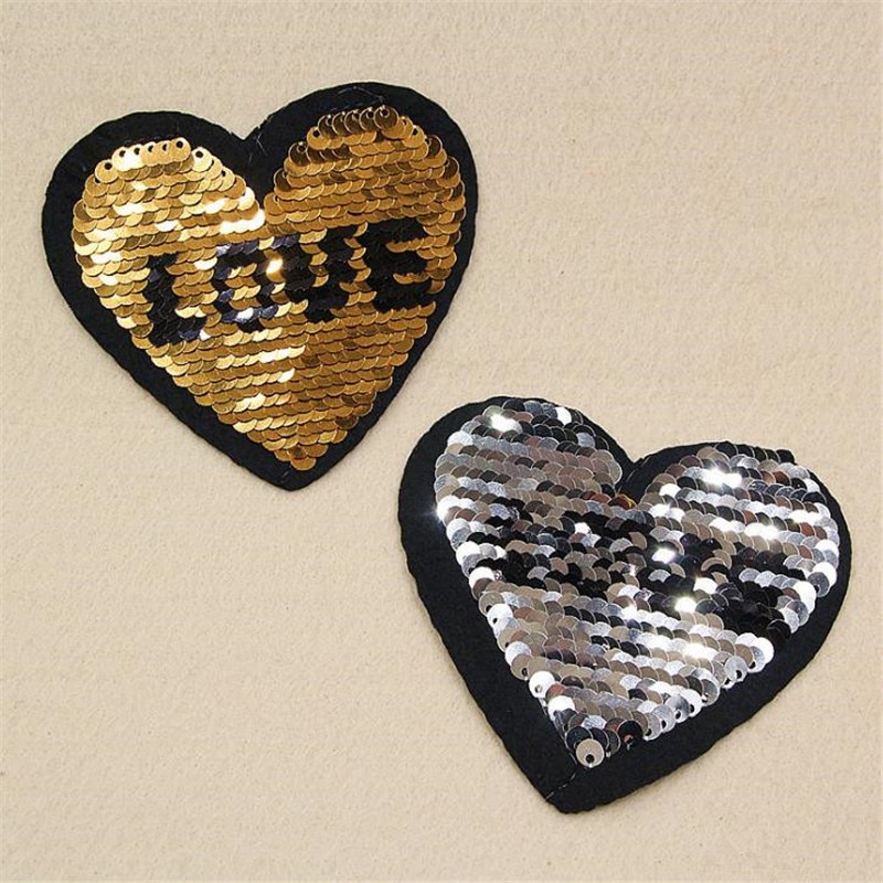 Patch deal with it clothes t shirt women stickers Reversible change color sequins golden silve 85mm heart patches for clothing