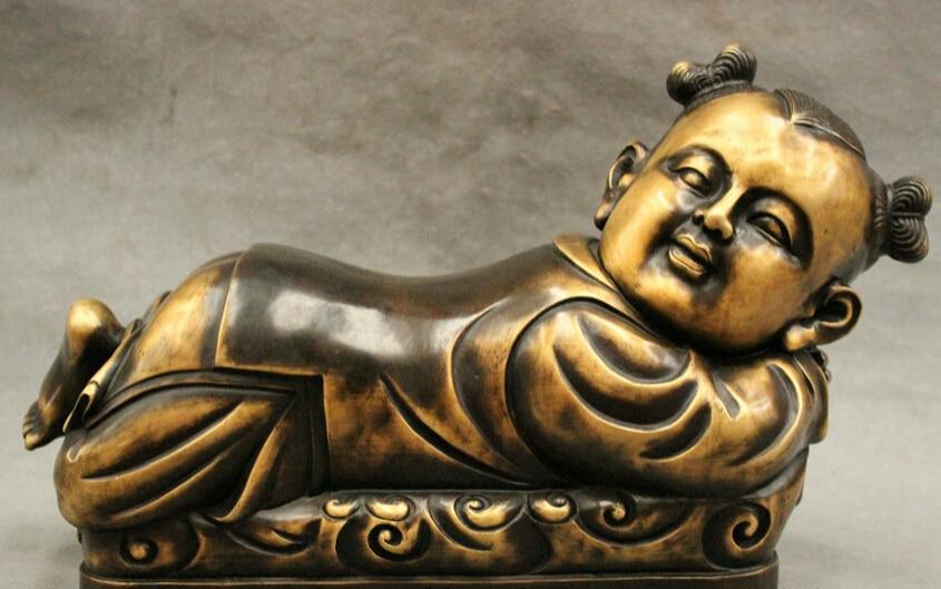 USPS to USA S1529 14 FengShui Chinese Bronze Copper JiXiang Fu Girl Moppet Gal Statue Hand Pillow B0401