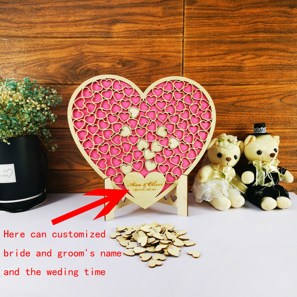 Custom Mr&Mrs Name Date Personalized Wedding Guest book Unique 3D Hollow Heart Pink Wedding Guest book Ideas Hearts image